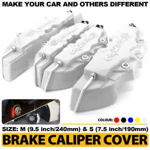4pcs 3d Silver Style Car Universal Disc Brake Caliper Covers Front