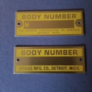 28 30 Ford Model A Body Number Tags 2 New