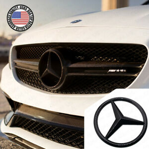 For Mercedes Front Grill Add On Logo Emblem Upgrade Amg Sport Carbon Fiber Style
