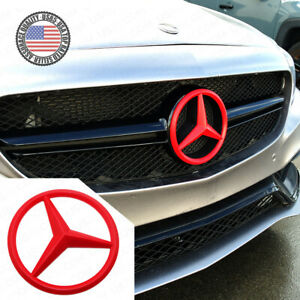 For Mercedes Front Grill Add On 3d Logo Badge Emblem Upgrade Amg Sport Style Red