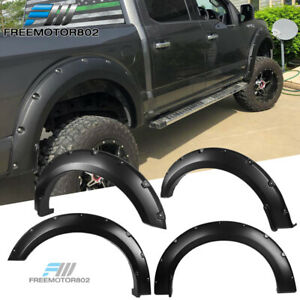 Fits 18 19 Ford F150 Pocket Style Fender Flares 4pc Set Smooth Black Pp