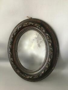 Antique Vtg Victorian Hand Carved Wood Oval Wall Picture Portrait Frame W Glass