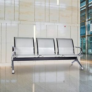 3 seat Waiting Room Chair Office Reception Airport Clinic Guest Bench Silver