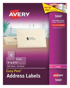 Avery Label 2 5 8 w X 1 h 1500 Labels Pk50 Clear Synthetic Film 5660 5660
