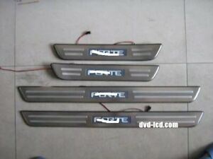 Stainless Led Light Auto Door Sill Plate Cover Scuff Guard Trim For Kia Forte