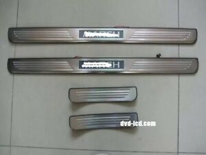 Stainless Led Light Auto Door Sill Plate Cover Scuff Guard Trim For Nissan March