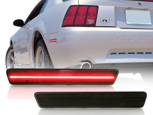 Usa Smoke Red Led Rear Bumper Reflector Side Marker Light For 99 04 Ford Mustang