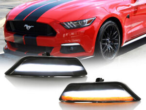Usa Smoke White amber Sequential Led Bumper Turn Signal For 2015 17 Ford Mustang