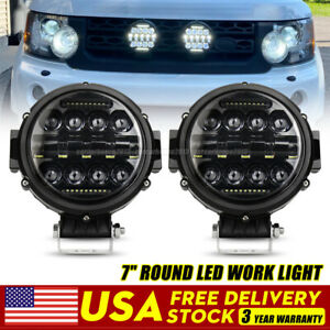 Pair 7 Inch Led Light Round Pods Driving For Jeep Combo Drl Offroad Truck 4x4
