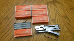 Vintage Ace Clipper Stapler With 6 Boxes Of Staples