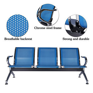 3 seat Waiting Room Chair Reception Bench For Business Office Airport Market