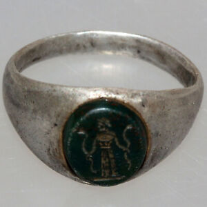 Roman Silver Seal Ring With Intaglio Stone Circa 100 300 Ad Perfect