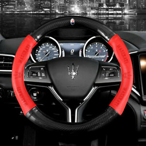 15 Car Steering Wheel Cover Genuine Leather For Maserati Red