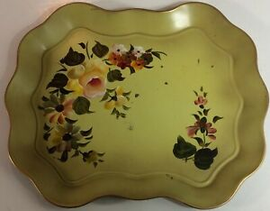 Vtg Hand Painted Flowers Nashco Metal Toleware Serving Tray Pink Yellow Scallops