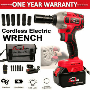 Cordless Impact Wrench 1 2inch Battery Charger Rattle Gun Power Tool Set Drill