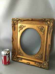 Vintage Gold Gilt Carved Wood Oval Picture Frame With Glass 8 X 10