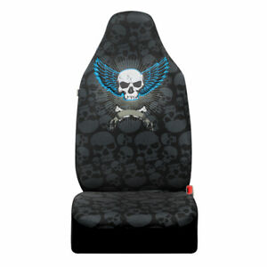 Winged Skull High Back Seat Covers For Front Car Seats Breathable Fabric