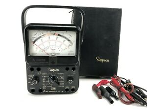 Vtg Simpson Model 260 Series 7 Volt Ohm Test Meter Multimeter Case Leads Works