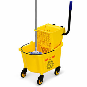 Commercial Mop Bucket Side Press Wringer On Wheels Clean 26 Quart Yellow