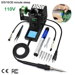 110v Pcb Smd Soldering Iron Station Kit Adjustable Temperature Pid Led Display