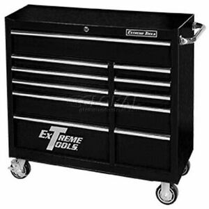 Extreme Tools 41 11 Drawer 24 Deep Roller Cabinet In Black Pws4124rctxbk
