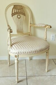 Antique Vtg Andre Originals Gold Ivory French Style Accent Desk Dining Arm Chair