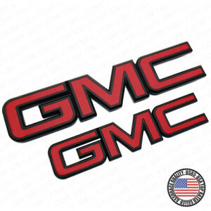 14 19 Gmc Sierra Front Grille Tailgate Letter Replace Emblem Nameplate Black Red