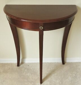 The Bombay Company Solid Mahogany Brass Accents Demilune Foyer Console Table