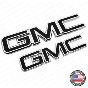 For 14 19 Gmc Sierra Front Grille Tailgate Letter Replace Emblem Nameplate Black