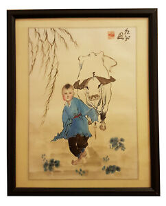 Chinese Ink And Color Hand Painting Of A Boy And Ox