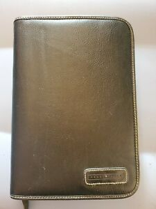 Perry Ellis Planner Black Leather 8 5 X 5 5 7 Ring Some Inserts Included