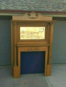 Antique Fireplace Mantel Surround Carved Wood Maple Victorian Columns Mirror