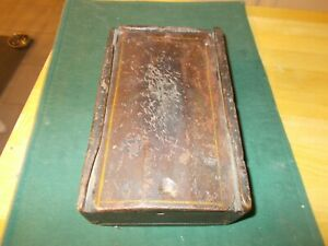 Early 1800s In Original Paint Sliding Lid Storage Box With Square Nail Construct