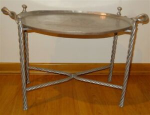 1930s Wendell August Sailfish Fishing Hammered Aluminum Tray Folding Table
