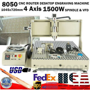 Usb Cnc 4axis 8050 Router Engraving Machine Cutting Milling Steel 1 5kw Vfd 110v