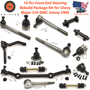 14pc Front End Steering Rebuild Package Kit For Chevy Blazer S10 Gmc Jimmy 2wd