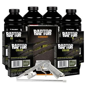 U pol 821 4865 Olive Green 4l Raptor Spray on Truck Bed Liner Kit W Gun