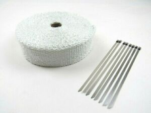 White Thermal Exhaust Header Wrap 2 x 33 W Ties Bph 9901