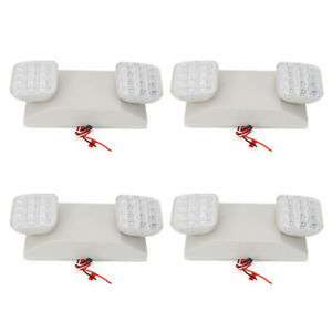 4pcs Led Emergency Exit Light Lamp Lighting Fixture Twin Square Heads Universal