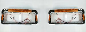Pair Headlight Bezels W Visor Led Turn Signal For Dual Rectangle 4x6 Headlamp