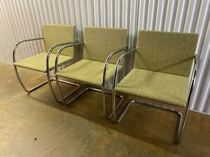 3 Knoll Brno Stainless Tubular Chair By Ludwig Mies Van Der Rohe
