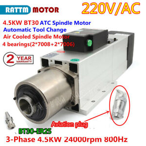 4 5kw Bt30 Automatic Tool Changer Atc Spindle Motor Air Cooling 24000rpm 220v