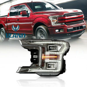 Full Led Projector Headlights Bi xenon Lens For 2018 2019 Ford F150 Driver Side