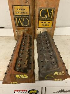 1959 Chevy 283 Sbc Corvette Fi Fuelie Gm 3755538 Cylinder Heads Nos Pair 1219