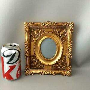 Antique Vtg Italian Miniature Gold Gilt Carved Wood Picture Frame W Convex Glass