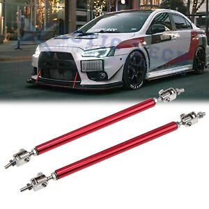 Red Adjustable Bumper Lip Diffuser Splitter Support Bars For Mitsubishi Lancer
