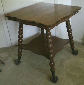 Oak Table Ball Claw Parlor Table Antique Patina Victorian Mission Tiger 1 4 Oak