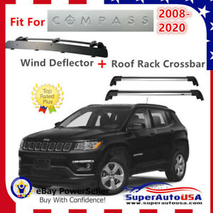 Top Roof Rack Fits Jeep Compass 2008 2020 Luggage Crossbar Wind Deflector
