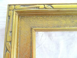 Vintage Fits 16 X 20 Gold Gilt Picture Frame Carved Wood Fine Art Country Deco