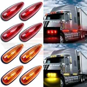 8x Amber Red 6 Trailer Truck 3led Cab Roof Marker Clearance Lights Sealed 12v